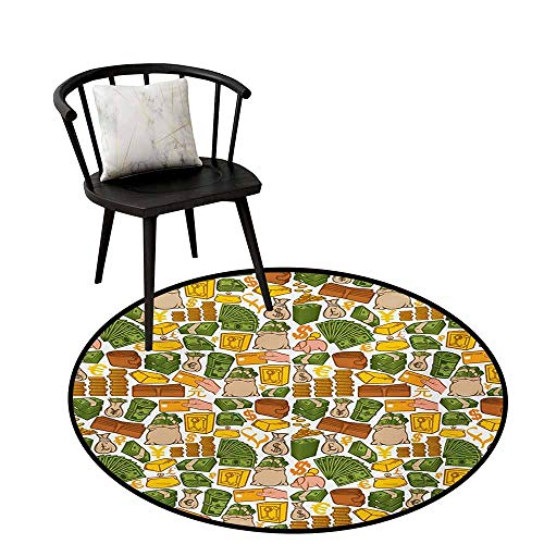 Breathable Round Rug Money Suitable for Everyday use Colorful Symbols of Richness Wallet Credit Card Icons of Money Dollar Pound Signs,D16(40cm),Multicolor