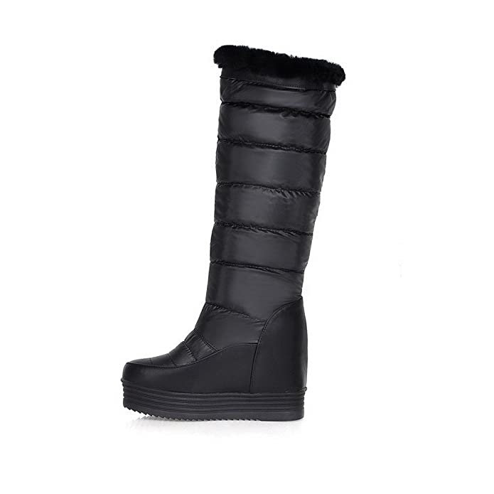 AllhqFashion Damen Wedges Blend-Materialien Rein Mitte-Spitze Stiefel mit Metalldekoration, Schwarz, 39