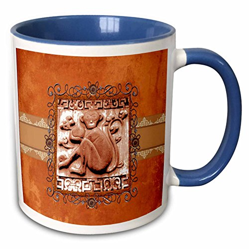 3dRose Beverly Turner Chinese New Year Design - Orange Stone Look Monkey with Coconut in Pewter Wire Look Frame - 15oz Two-Tone Blue Mug - Tone Frame Pewter