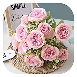 Memoirs- 12 Heads Silk Peony Flower Artificial Tea Rose Flower Bouquet for Home Wedding Party Decoration Fake Flower Fall Decorations 48