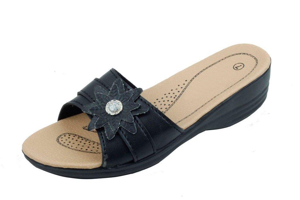 Jeffrey D Women Open Toe Comfort Slide Wedge Shoe Sandals (10, Black-D)