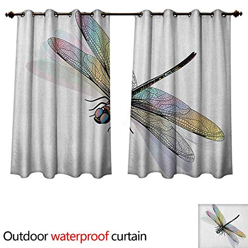 Dragonfly Outdoor Balcony Privacy Curtain Shady Dragonfly Pattern with Ornate Lace Style Spiritual Beauty Wings Design W96 x L72(245cm x 183cm)