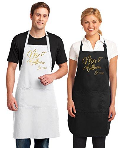 Kamal Ohava Custom Mr and Mrs Couples Kitchen Aprons (2-Piece Set), Gold Foil by KAMAL OHAVA