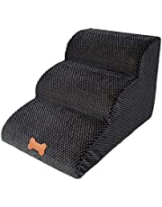 Pet Steps Stairs, Soft Foam Non-Skid Pet Step Ladde Dog Cats Stairs Ramp Pet Stairs with 3 Steps Sofa Bed Couches Ladder for Small Or Older Dog Washable Cover