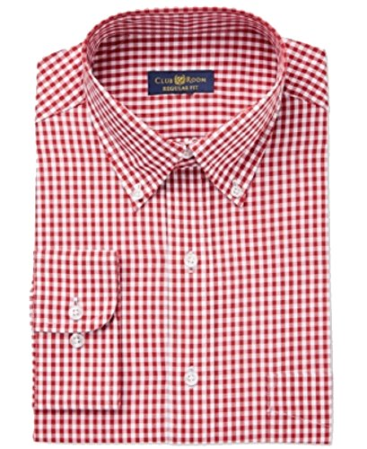 Club Room White Mens Regular Gingham Print Dress Shirt Red 15 Club Room White Dress Shirt