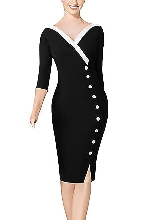 Damen Bleistiftkleid Elegant Business Abendkleider Knielang 3 4 Ärmel  V-Ausschnitt Schlank Paket Hüfte mit Button Etuikleid Cocktailkleid  Partykleider  ... ffbcfb5e68