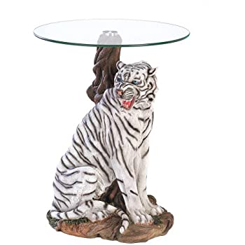 White Tiger Sculptural Base Home Accent Glass Top Table