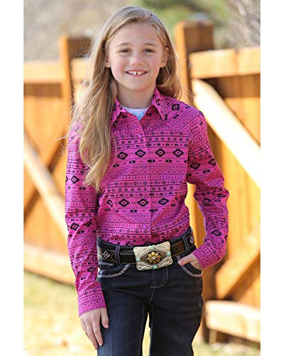 Cruel Girl Girls' Aztec Print Snap Long Sleeve Western Shirt Multi X-Large