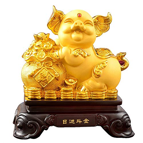 (Wenmily 2019 Chinese Zodiac Pig Year Large Size Golden Resin Pig with Treasure Basin Collectible Figurines Table Decor Statue)