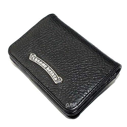 クロムハーツ カードケースV1 3ポケットワイド スクロール ブラック ヘビーレザー ウォレット メンズ (名刺入れ) B07PHF5RTY