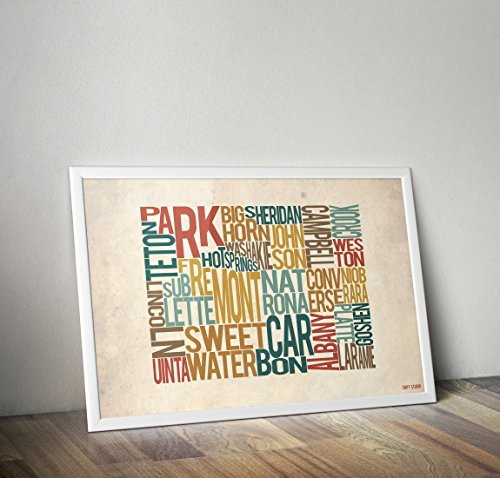 Wyoming by County - Typography Map Print ()