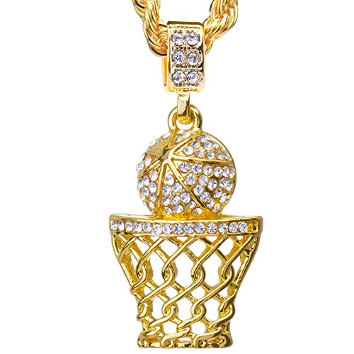 953754f7226 Metaltree98 Luxury Hip Hop Iced Out 14kt Gold Plated Mini Basketball Rim Pendant  4 mm & 24 inch Rope Chain HC 1109 G