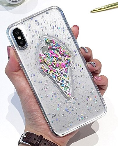 iPhone XR Case,Blingy's New Cool Bling Bling Glitter Ice Cream Style Transparent Clear Soft TPU Protective Case Compatible for iPhone XR (Clear Ice Cream)