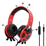 VCOM Kids Headphones, Ladybird Children Safe Boy Girl Over Ear Stereo Lightweight Headsets Music Gaming Earphones In-line Microphone iPhone iPad Android Smartphone Tablets PC Laptop-Black/red