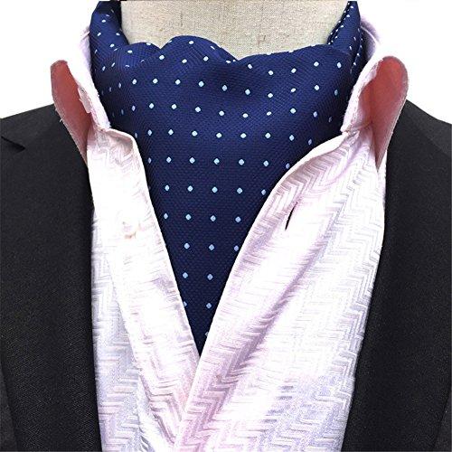 Men's Cravat Tie Polka Dot Jacquard Woven Self Ascot Blue