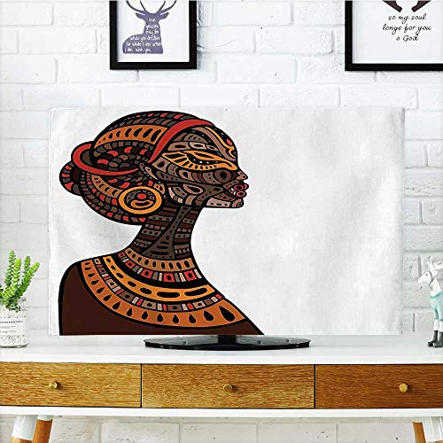 Auraisehome Protect Your TV Pagan Exotic Beauty Woman Figure with Traditional Mask Totem Illustration Brown Cinnamon Protect Your TV W20 x H40 INCH/TV 40