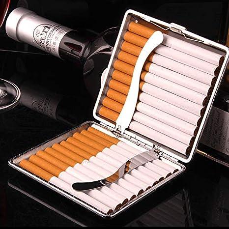 Schwarz Leder Zigarettenetui Metallrahmen Zigarettenspitze F/ür 20 Zigaretten