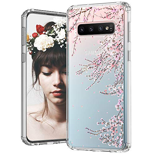 MOSNOVO Galaxy S10 Plus Case, Cherry Blossom Floral Flower Printed Clear Design Transparent Plastic Hard Back Case with TPU Bumper Protective Case Cover for Samsung Galaxy S10 Plus