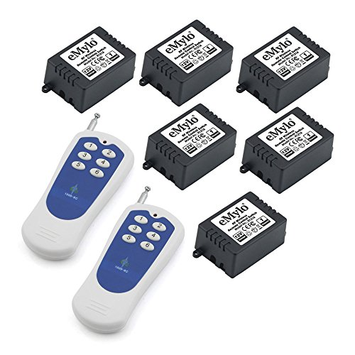 eMylo DC 12V 6x 1 Channel RF Relay Wireless Remote Control Switch 433Mhz Transmitter with Receiver