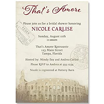 bridal shower invitations red thats amore italy italian theme wedding shower