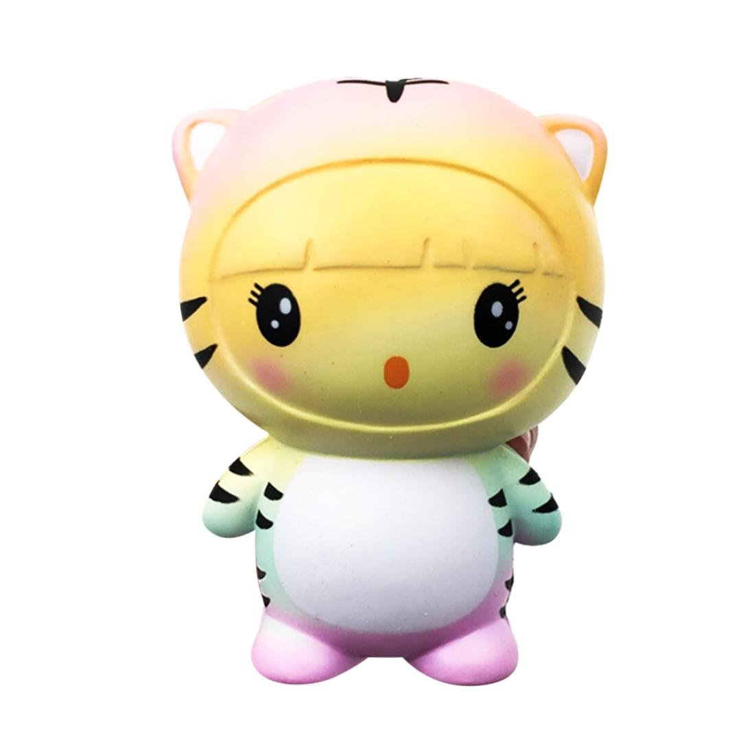 MOONHOUSE 2018 Exquisite Love Colourful Tiger Cartoon Cream Squeeze Scented Squishy Charm Slow Rising Simulation Kid Relief Toy Anxiet Gift (Rainbow)