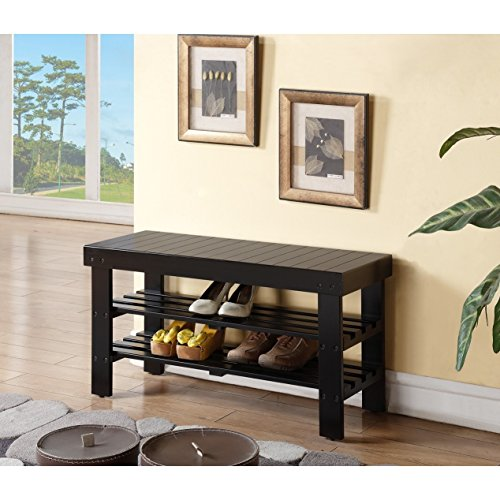 Black Finish Solid Wood - Black Finish Solid Wood Storage Shoe Bench Shelf by eHomeProducts