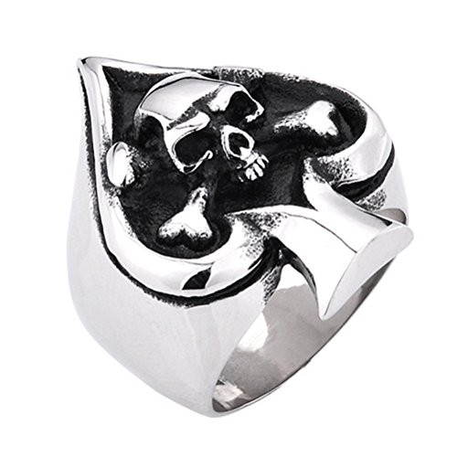 PAMTIER Men's Stainless Steel Vintage Gothic Skull Tribe Ace of Spades Biker Ring Size - Discount Shipping Free Poker Shop