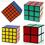 Super Value - Magic Speed - Cube Puzzle 4 in One Set - Cube Pack of 2x2 , 3x3 , 4x4 , 5x5- Sticker Speed Edition - Black