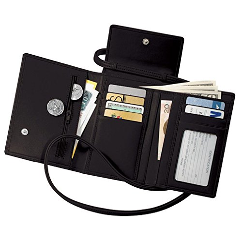 Royce Leather Deluxe Passport Case With Removable Neck/Shoulder Strap - Black