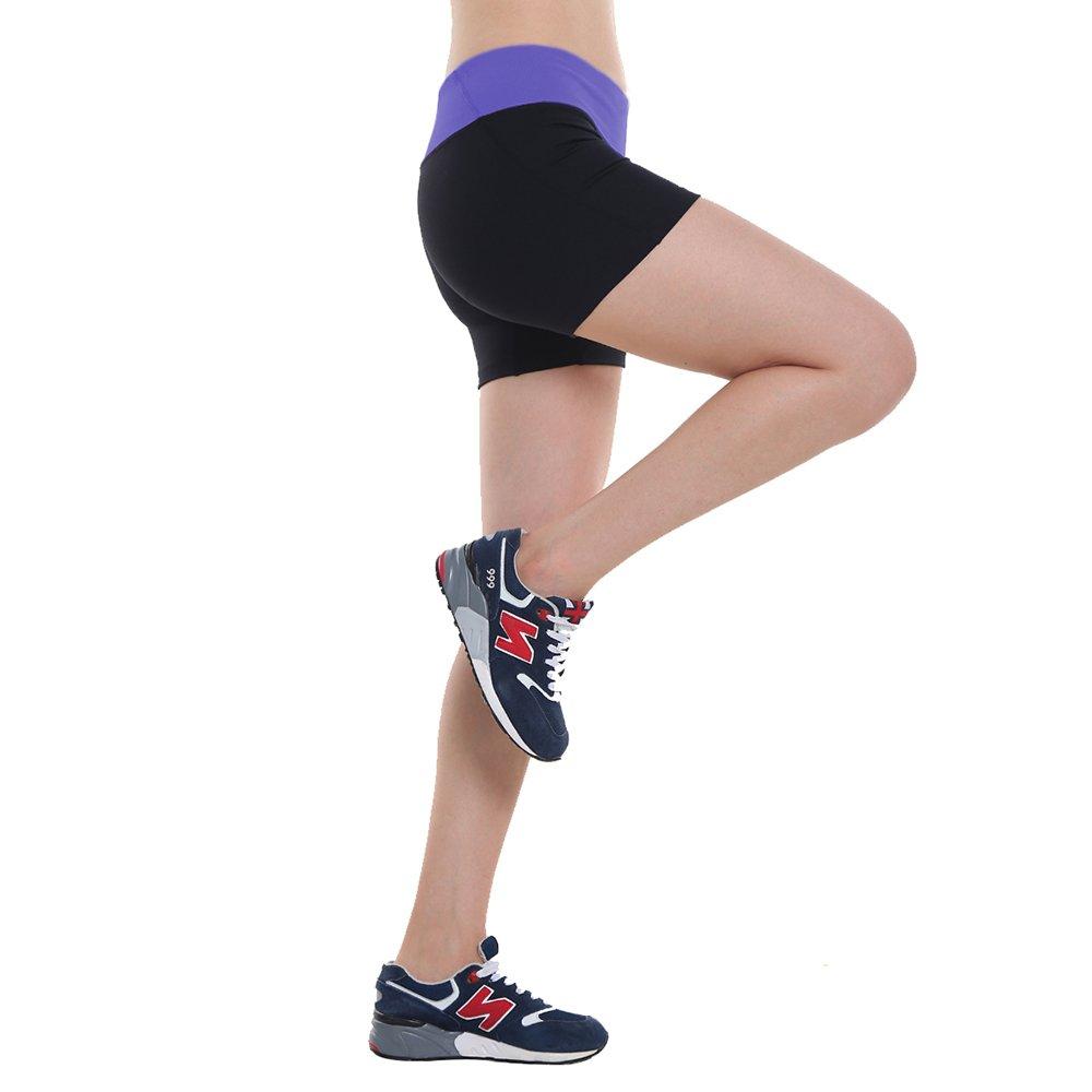 Women\'s Workout Yoga Running Boy Cut Foldover Shorts Inner Pocket