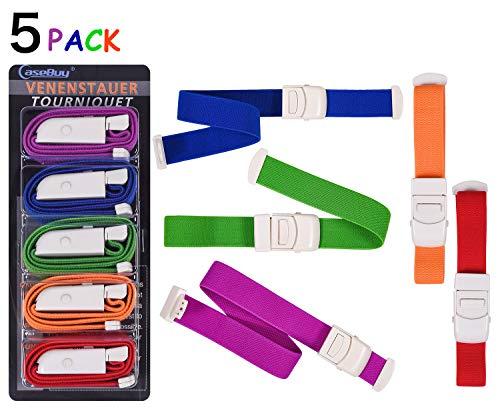 5-Pack Tourniquet Elastic First Aid Quick Release Medical Sport Emergency Tourniquet Buckle Band - Velcro Tourniquet