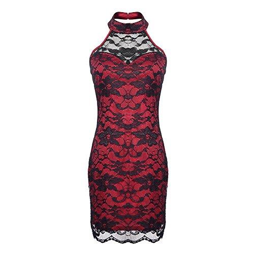 SSITG Damen Kleid Abendkleid Cocktailkleid Partykleid Spitzenkleid ...