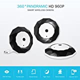 SANNCE Home Panoramic Wifi IP Camera APP Fisheye Wifi IP Camera Full 360 Degree Clear Vision 960P 1.3 Megapixel with Remote Viewing(3 Pack)