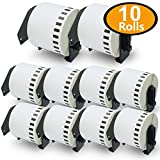 "10 Rolls Brother-Compatible P-Touch DK-2205 62mm x 30.48m(2-3/7"" x 100') Continuous Length Paper Tape Labels With Refillable Cartridge"