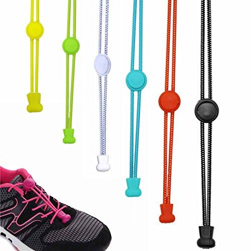 5 paire de laçage lacets élastiques rapides avec lacets rapide de verrouillage lacets / lacets de chaussures pour vos chaussures, un ajustement parfait et une forte