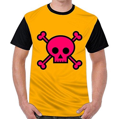 Lovelywardrobe Pink Skull With Cross Bones Mens Graphic Funny T-Shirts Dark (Bone Plug Cross)