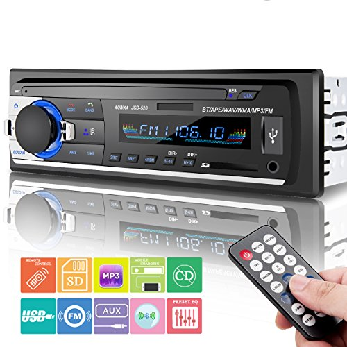 Car Stereo Bluetooth, Huicocy Universal in-Dash Single Din Car Radio Receiver MP3 Player/USB/SD Card/AUX/FM Radio Remote Control by Huicocy
