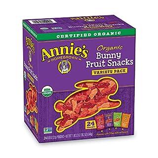 Annie's Organic Bunny Fruit Snacks, Variety Pack, Gluten Free, Vegan, 24 ct