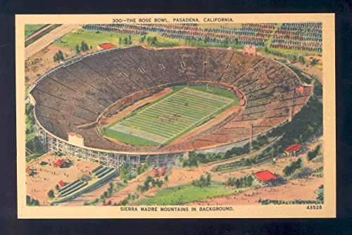 california old linen football postcard THE ROSE BOWL PASADENA CALIFORNIA (Rose Bowl Pasadena California)