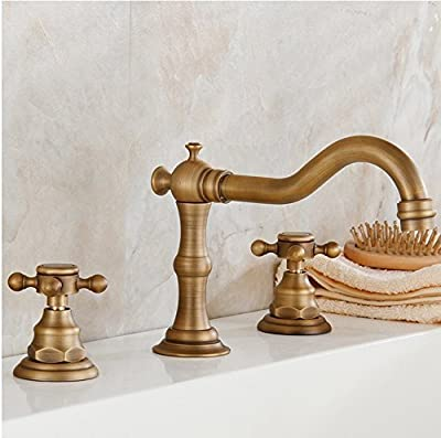 YAJO Antique Curved Spout Two Cross Handle Bathroom Vessel Sink Faucet, Brass Finish