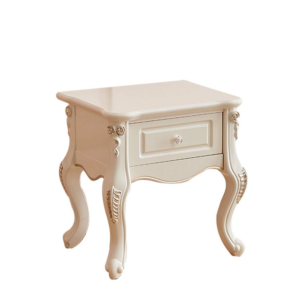 YUKILO Bedside Table European-Style Silver Single Drawer Cabinet Simple Storage Cabinet French White Carved Storage Bedside Cabinet. (Color : White)