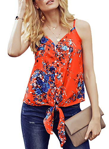 CICIDES Women Floral Printed Summer Casual Front Button up Tie Knot Sleeveless Tank Tops V Neck Shirts Orange red US4-6 Small