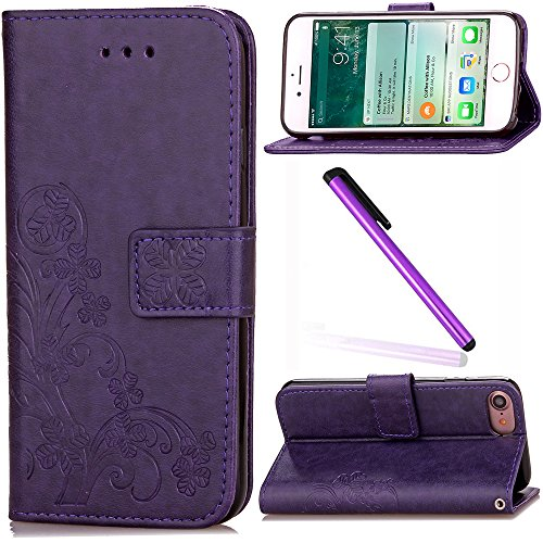 iPhone 7 Cover EMAXELER Stylish Wallet Cover Kickstand Flip Cover Credit Cards Slot Cash Pockets PU Leather Embossing Flip Wallet Cover with Stand For iPhone 7 Clover Purple