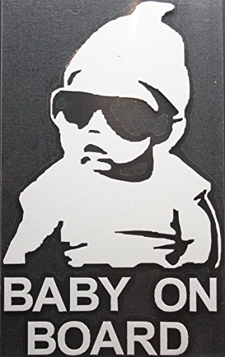COOL BABY ON BOARD WEARING BEANIE AND SUNGLASSES REFLECTIVE CAR / TRUCK / DECAL STICKER WITH ALCOHOL PAD ~ Size 3.5