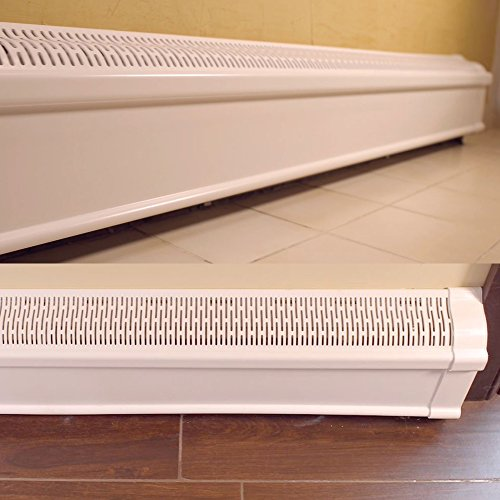Baseboard Heater Cover COMPLETE SET with Right and Left End Caps | Hot Water, Hydronic Heater Slant Fin Baseboard Cover Enclosure Replacement Kit - 4' White / Rustproof Plastic Composite