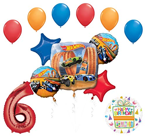 Mayflower Products Hot Wheels Party Supplies 6th Birthday Balloon Bouquet Decorations -