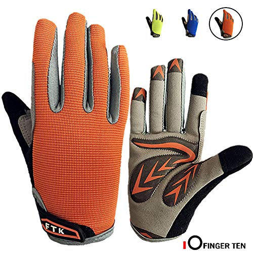 Cycling Gloves Kids Boys Girls Youth Full Finger Pair Bike Riding, Children Toddler Touch Screen Mountain Road Bicycle Warm Cold Weather Gel Padded, Color Blue Orange Age 2-11 (Orange, M (Age 5-7)) (Best Autumn Cycling Gloves)