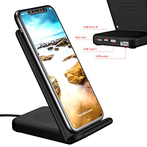 iPhone X Wireless Charger, Fast Wireless Charging Pad Stand At Same Time With Multiple Outlets Connector With Type C/Micro USB/Lightning Cable to USB Charger for iPhone X /8,Galaxy S8 all - At Outlets