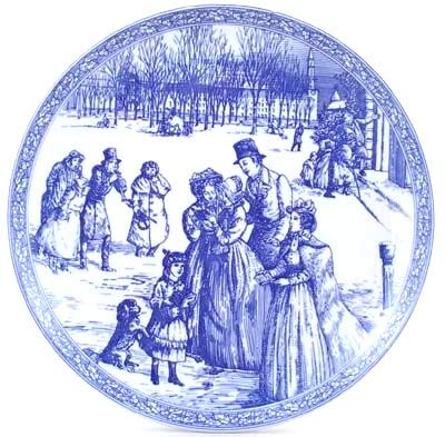 Collection Blue Dinner Room Plate (Spode Blue Room Collection Victorian Series Christmas Plate Number 4 England Blue White Transferware)