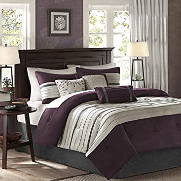 Madison Park - Palmer 7 Piece Comforter Set - Plum - King - Pieced Microsuede -